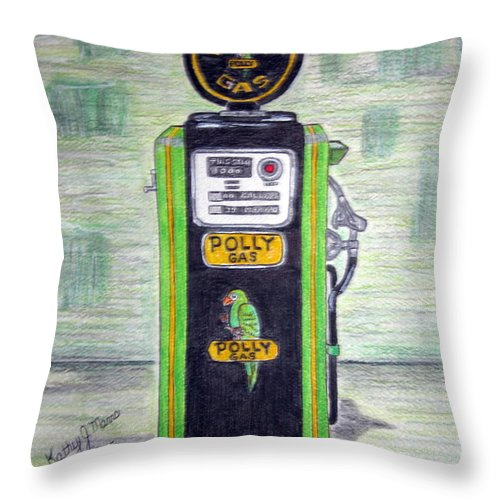 Parrot Throw Pillow featuring the painting Polly Gas Pump by Kathy Marrs Chandler