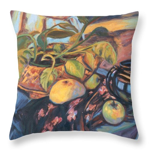 Still Life Throw Pillow featuring the painting Pollys Plant by Kendall Kessler