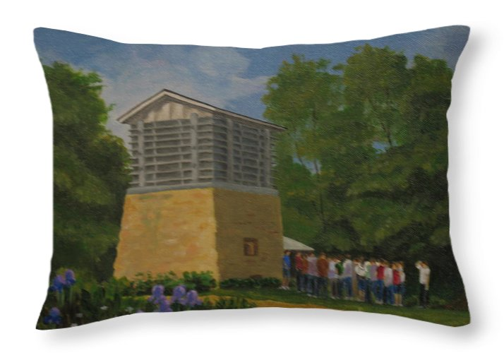 Polo Throw Pillow featuring the painting Polo Lime Kiln by Ellen Ebert