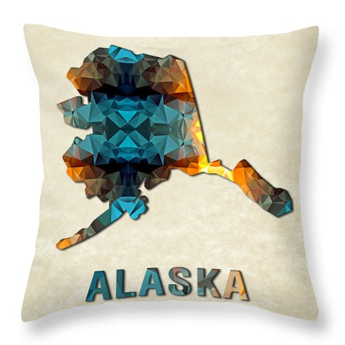 Alaska State Map United+states America Maps Cartography Geography Municipalities Travel Routes Throw Pillow featuring the painting Polygon Mosaic Parchment Map Alaska by Elaine Plesser