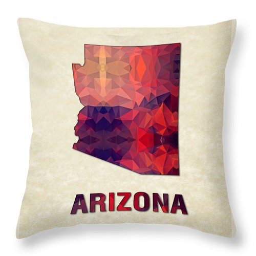 Arizona State Map United+states America Maps Cartography Geography Municipalities Travel Routes Throw Pillow featuring the painting Polygon Mosaic Parchment Map Arizona by Elaine Plesser