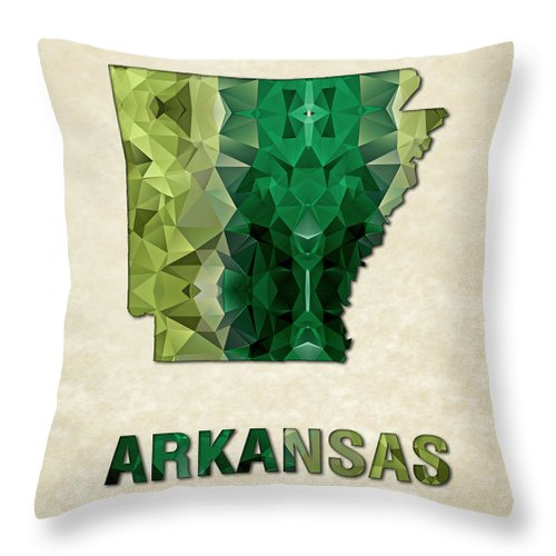 Arkansas State Map United+states America Maps Cartography Geography Municipalities Travel Routes Throw Pillow featuring the painting Polygon Mosaic Parchment Map Arkansas by Elaine Plesser