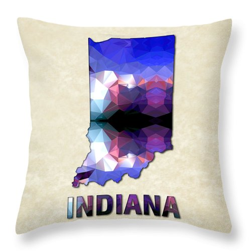 Indiana State Map United+states America Maps Cartography Geography Municipalities Travel Routes Throw Pillow featuring the painting Polygon Mosaic Parchment Map Indiana by Elaine Plesser