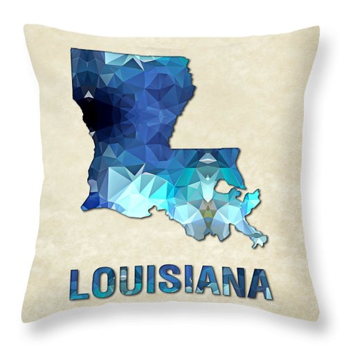 Louisiana State Map United+states America Maps Cartography Geography Municipalities Travel Routes Throw Pillow featuring the painting Polygon Mosaic Parchment Map Louisiana by Elaine Plesser