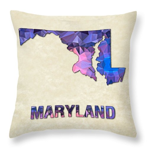 Naryland State Map United+states America Maps Cartography Geography Municipalities Travel Routes Throw Pillow featuring the painting Polygon Mosaic Parchment Map Maryland by Elaine Plesser