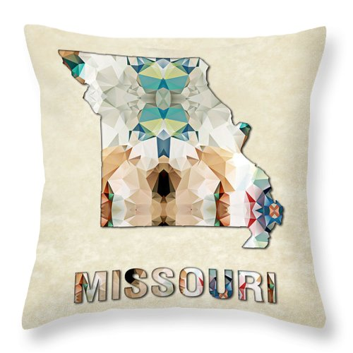 Missouri State Map United+states America Maps Cartography Geography Municipalities Travel Routes Throw Pillow featuring the painting Polygon Mosaic Parchment Map Missouri by Elaine Plesser