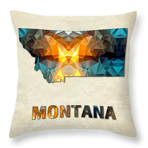 Montana State Map United+states America Maps Cartography Geography Municipalities Travel Routes Throw Pillow featuring the painting Polygon Mosaic Parchment Map Montana by Elaine Plesser