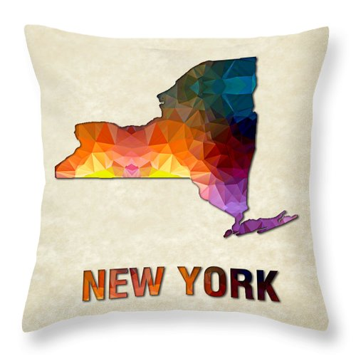 New+york State Map United+states America Maps Cartography Geography Municipalities Travel Routes Throw Pillow featuring the painting Polygon Mosaic Parchment Map New York by Elaine Plesser