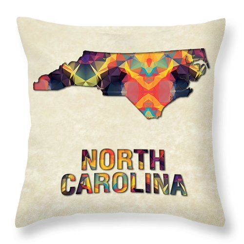 North+carolina State Map United+states America Maps Cartography Geography Municipalities Travel Routes Throw Pillow featuring the painting Polygon Mosaic Parchment Map North Carolina by Elaine Plesser