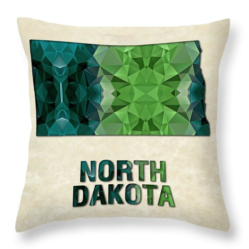 North+dakota State Map United+states America Maps Cartography Geography Municipalities Travel Routes Throw Pillow featuring the painting Polygon Mosaic Parchment Map North Dakota by Elaine Plesser