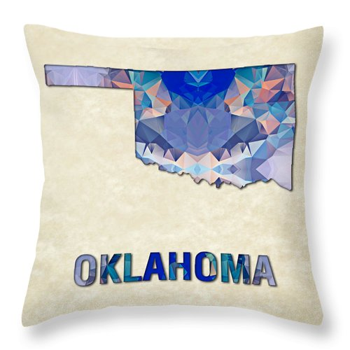 Oklahoma State Map United+states America Maps Cartography Geography Municipalities Travel Routes Throw Pillow featuring the painting Polygon Mosaic Parchment Map Oklahoma by Elaine Plesser