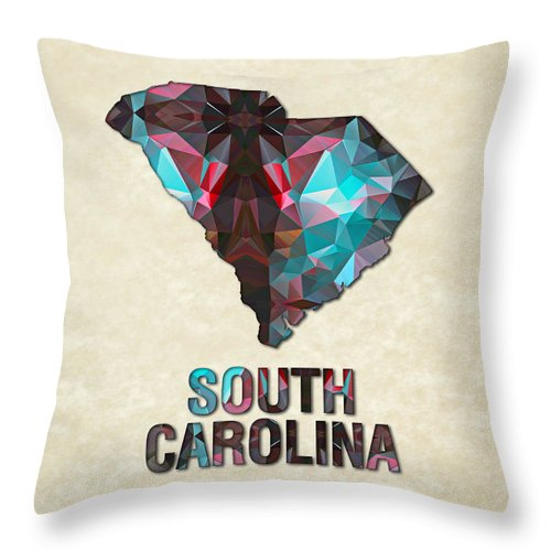 South+carolina State Map United+states America Maps Cartography Geography Municipalities Travel Routes Throw Pillow featuring the painting Polygon Mosaic Parchment Map South Carolina by Elaine Plesser