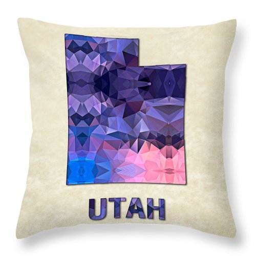 Utah State Map United+states America Maps Cartography Geography Municipalities Travel Routes Throw Pillow featuring the painting Polygon Mosaic Parchment Map Utah by Elaine Plesser