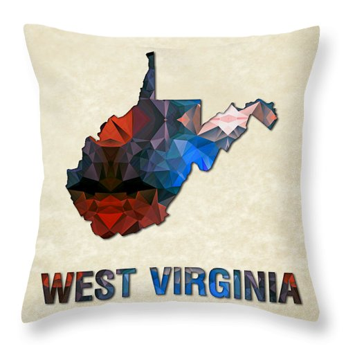 West+virginia State Map United+states America Maps Cartography Geography Municipalities Travel Routes Throw Pillow featuring the painting Polygon Mosaic Parchment Map West Virginia by Elaine Plesser