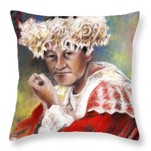 Travel Throw Pillow featuring the painting Polynesian Woman by Miki De Goodaboom