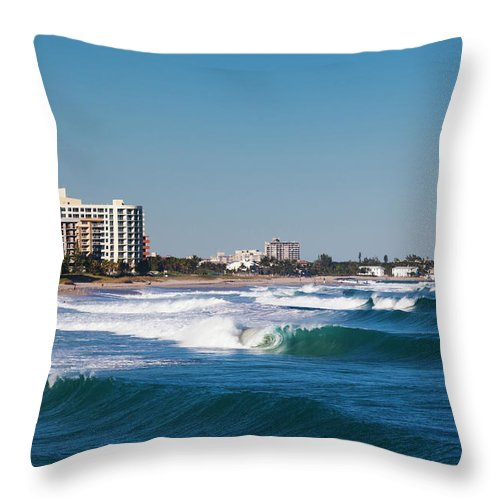 Tranquility Throw Pillow featuring the photograph Pompano Beach, Florida, Exterior View by Walter Bibikow