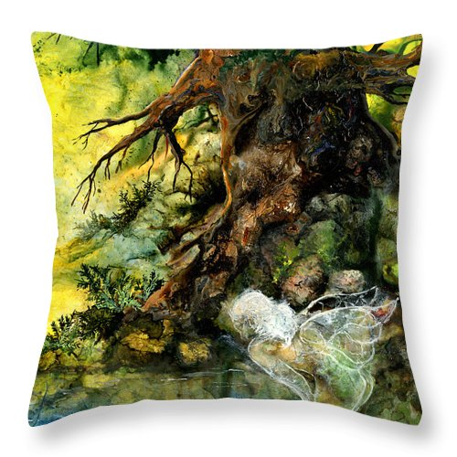 Fairy Throw Pillow featuring the painting Pond Fairy by Sherry Shipley