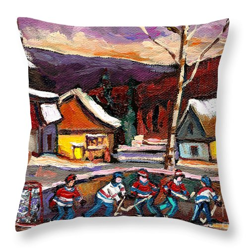 Pond Hockeybirch Tree And Mountain Throw Pillow featuring the painting Pond Hockey Birch Tree And Mountain by Carole Spandau