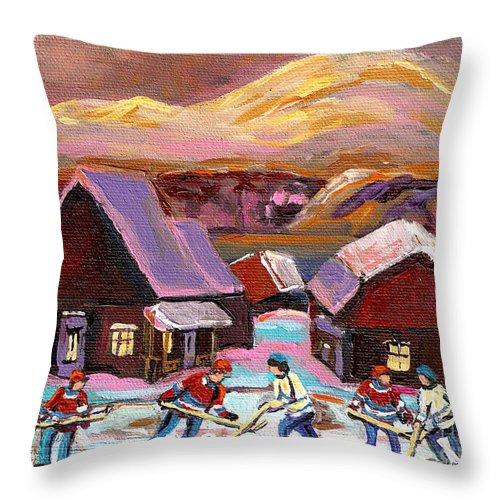 Pond Hockey Cozy Winter Scene Throw Pillow featuring the painting Pond Hockey Cozy Winter Scene by Carole Spandau