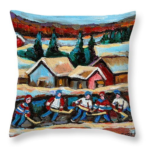 Pond Hockey Game In The Country Throw Pillow featuring the painting Pond Hockey Game In The Country by Carole Spandau