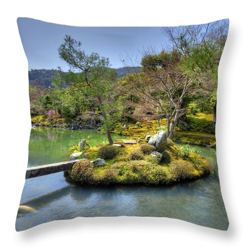 Asia Throw Pillow featuring the photograph Pond Island And Gardens by Matt Swinden