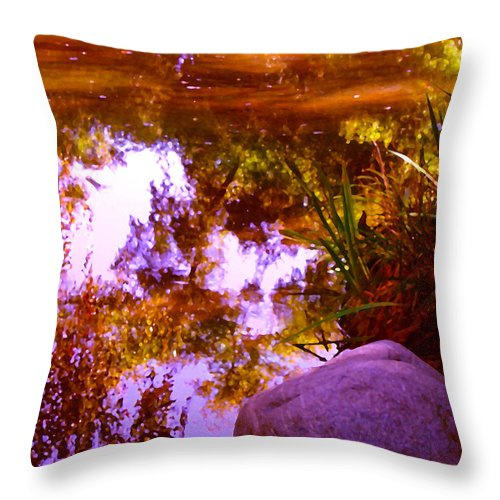 Landscapes Throw Pillow featuring the painting Pond Reflextions by Amy Vangsgard