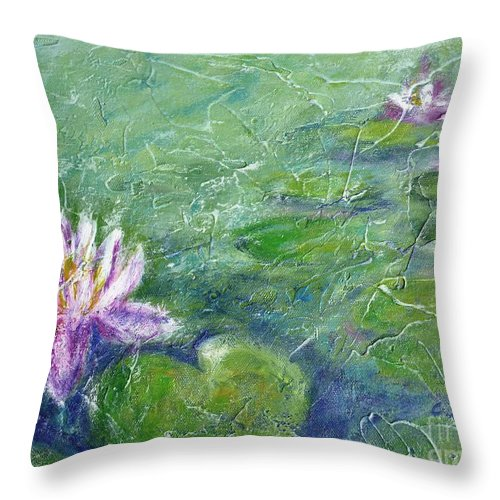 Water Lily Throw Pillow featuring the painting Green Pond With Water Lily by Cristina Stefan