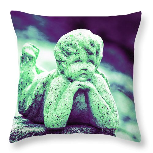 Statue Throw Pillow featuring the photograph Pondering by Joe Geraci