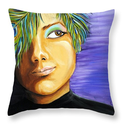 Girl Throw Pillow featuring the painting Pondering Peacock by Meganne Peck