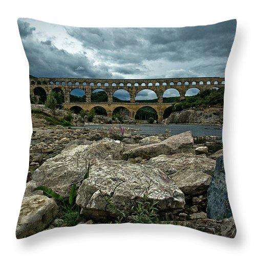 Europe Throw Pillow featuring the photograph Pont-du-gard by Oleg Koryagin