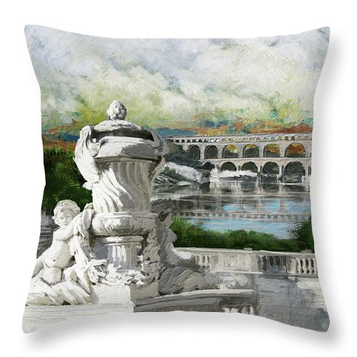 Western Ghats Throw Pillow featuring the painting Pont Du Gard Roman Aqueduct by Catf
