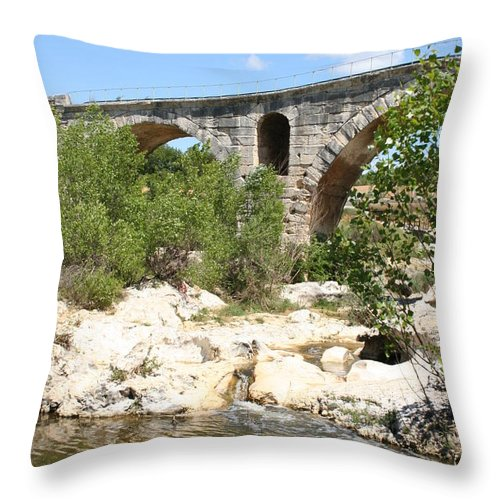 Roman Stonebridge Throw Pillow featuring the photograph Pont St. Julien And River by Christiane Schulze Art And Photography