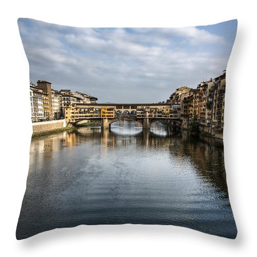 Italy Throw Pillow featuring the photograph Ponte Vecchio by Dave Bowman