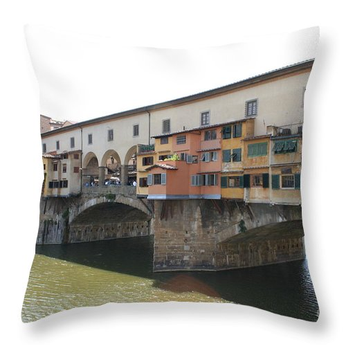 Bridge Throw Pillow featuring the photograph Ponte Vecchio - Florence by Christiane Schulze Art And Photography
