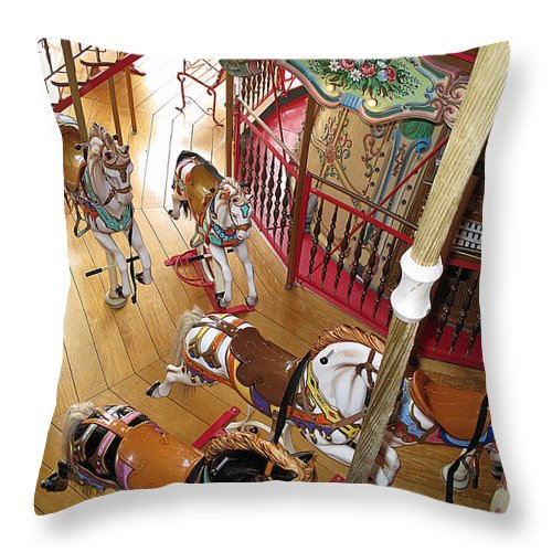 Carousel Throw Pillow featuring the photograph Pony Race by Barbara McDevitt