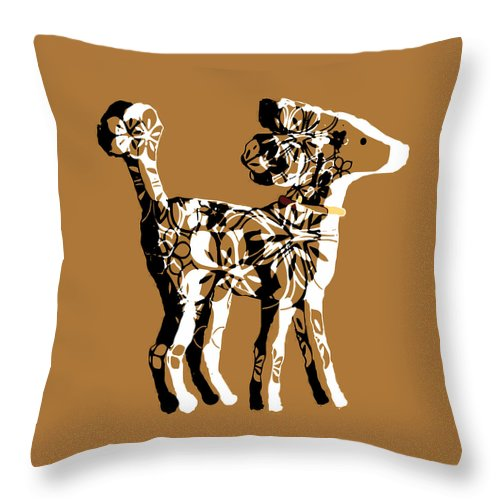 Poodle Throw Pillow featuring the painting Poodle Print Art by Ellsbeth Page