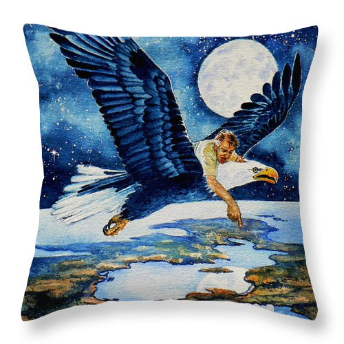 Flying Over Earth Throw Pillow featuring the painting Pooka Hill 4 by Hanne Lore Koehler
