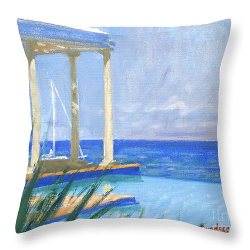 Infinity Pool Throw Pillow featuring the painting Pool Cabana Morning by Candace Lovely