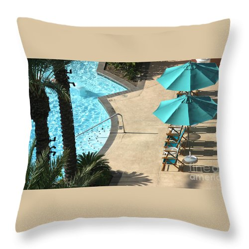 Vacation Throw Pillow featuring the photograph Pooldeck1145b by Gary Gingrich Galleries