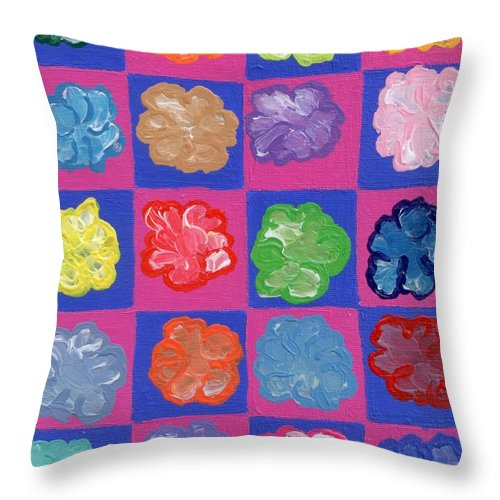 Pink Throw Pillow featuring the painting Pop Flowers by Melissa Vijay Bharwani