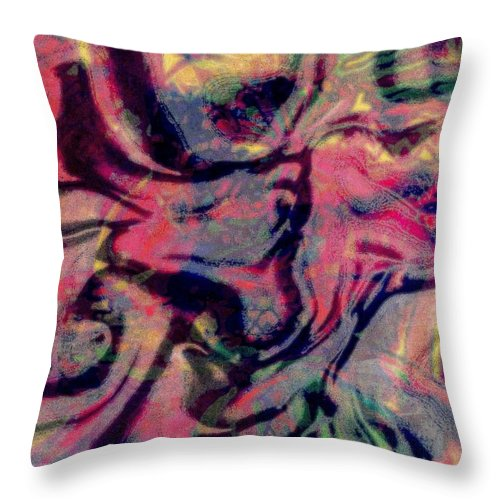 Abstract Throw Pillow featuring the mixed media Pop Rock Style by Wendie Busig-Kohn