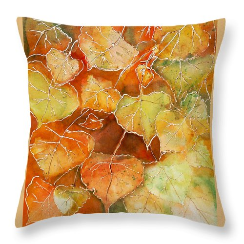 Susan Throw Pillow featuring the painting Poplar Leaves by Susan Crossman Buscho