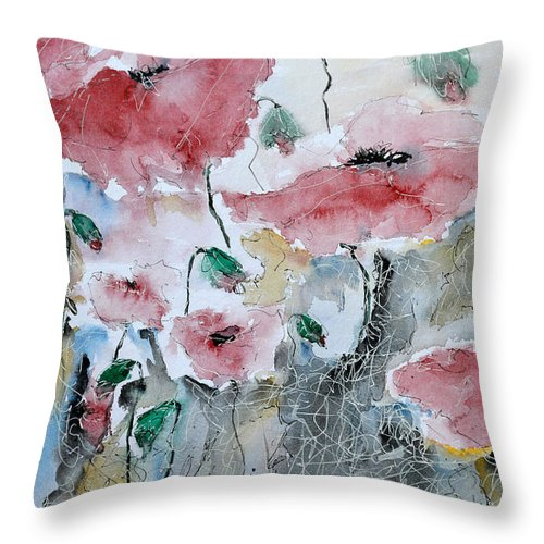 Poppies Throw Pillow featuring the painting Poppies 01 by Ismeta Gruenwald