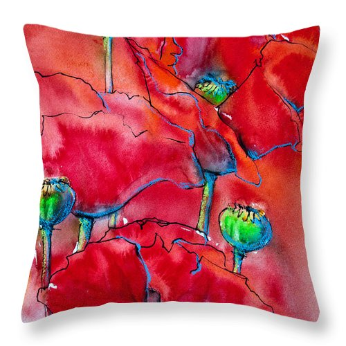 Poppies Throw Pillow featuring the painting Poppies 2 by Jani Freimann