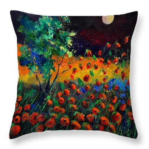 Landscape Throw Pillow featuring the painting Poppies 774111 by Pol Ledent