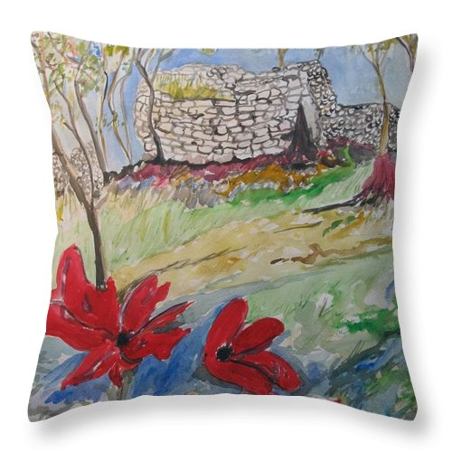 Poppies Throw Pillow featuring the painting Poppies And Ruins by Esther Newman-Cohen