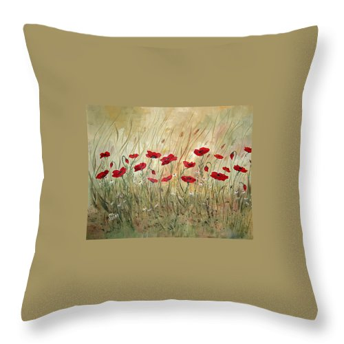 Poppies Throw Pillow featuring the painting Poppies And Wild Flowers by Dorothy Maier