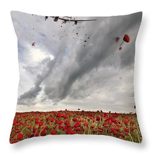 Avro Throw Pillow featuring the digital art Poppies Dropped by J Biggadike