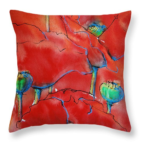Poppies Throw Pillow featuring the painting Poppies II by Jani Freimann