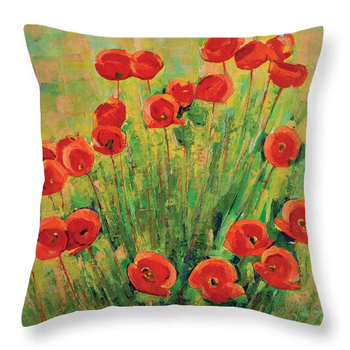 Poppies Throw Pillow featuring the painting Poppies by Iliyan Bozhanov